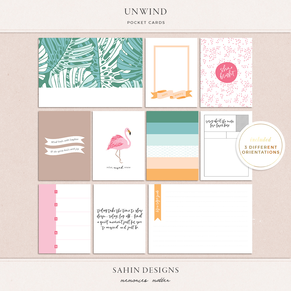 Unwind printable pocket cards - Sahin Designs