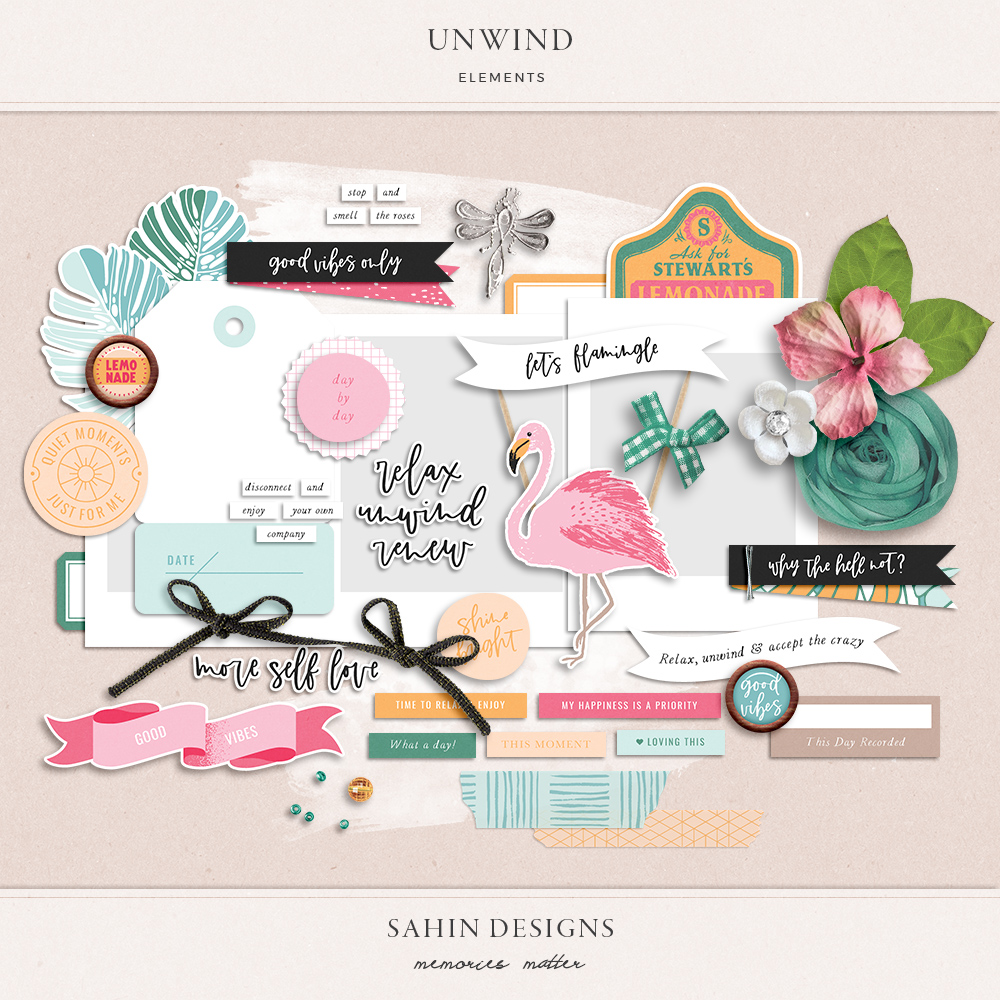 Unwind digital scrapbook elements - Sahin Designs