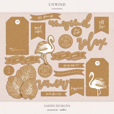 Unwind digital scrapbook ephemera - Sahin Designs