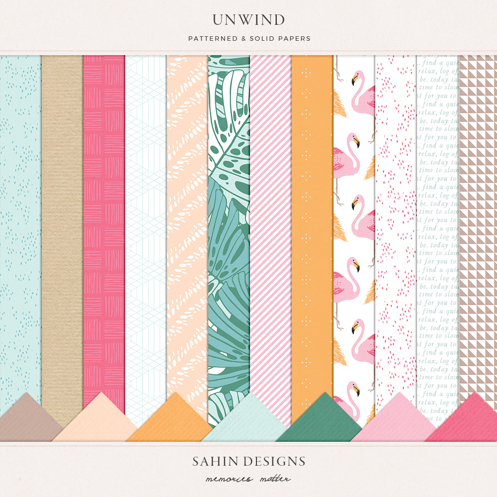 Unwind digital scrapbook papers - Sahin Designs