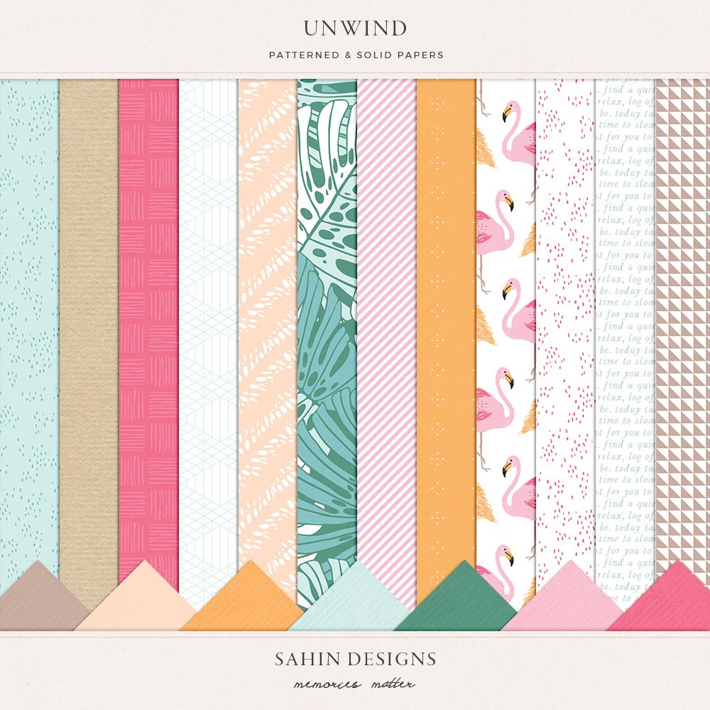 Unwind digital scrapbook papers - Sahin Designs