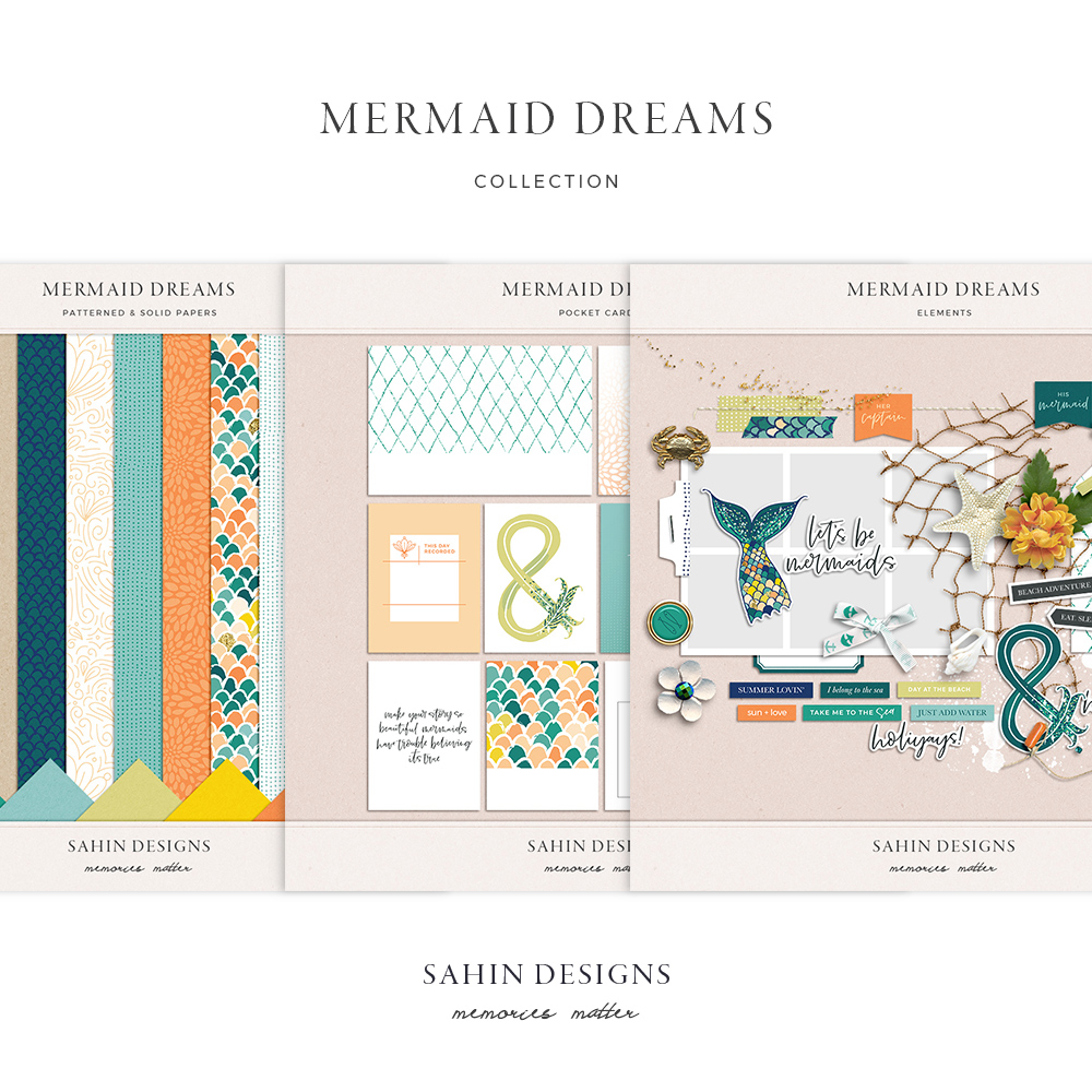 Mermaid Dreams Digital Scrapbook Collection - Sahin Designs