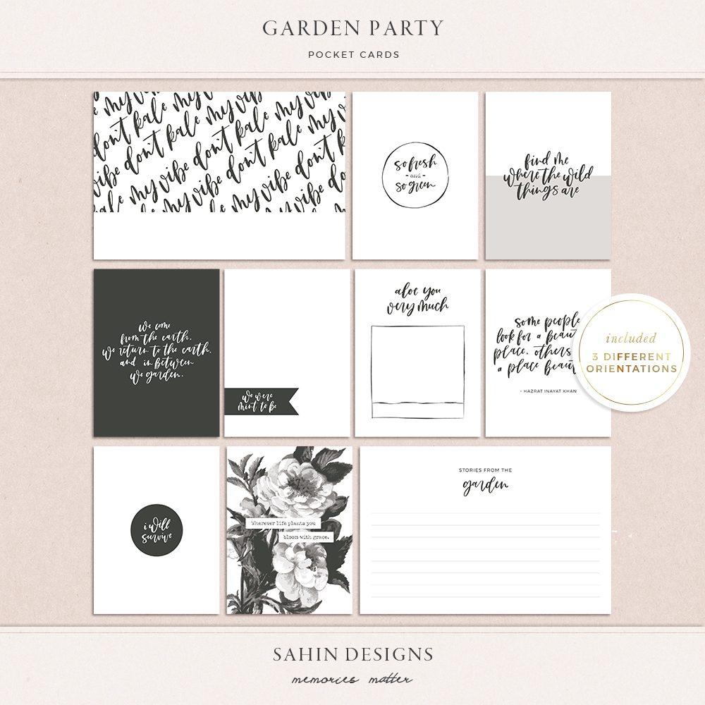 Garden Party Printable Pocket Cards - Sahin Designs