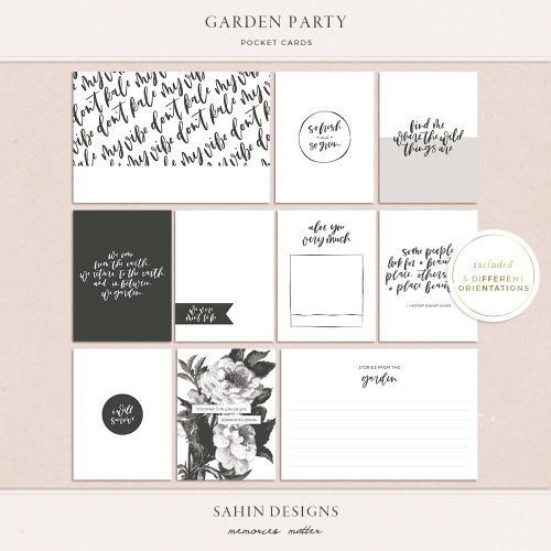 Garden Party Printable Pocket Cards - Sahin Designs