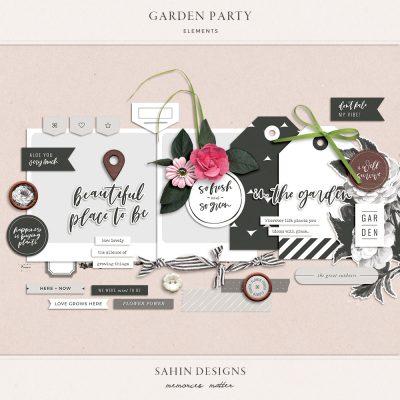 Garden Party Digital Scrapbook Elements - Sahin Designs