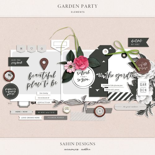 Garden Party Digital Scrapbook Elements - Sahin Designs