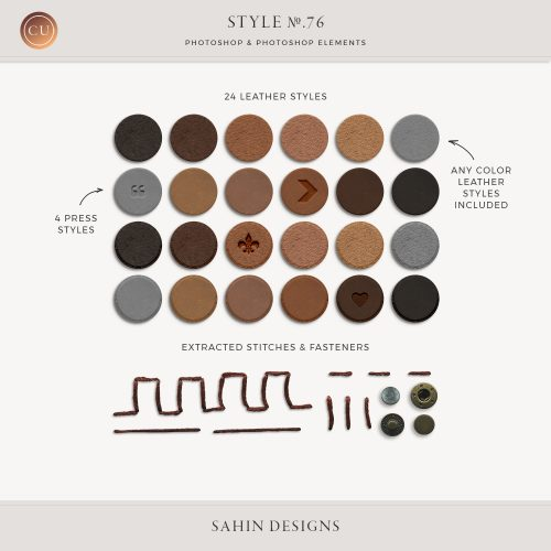 Leather press photoshop layer styles - Sahin Designs - CU Digital Scrapbook