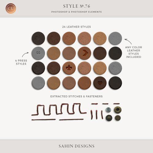 Leather press photoshop layer styles - Sahin Designs - CU Digital Scrapbook
