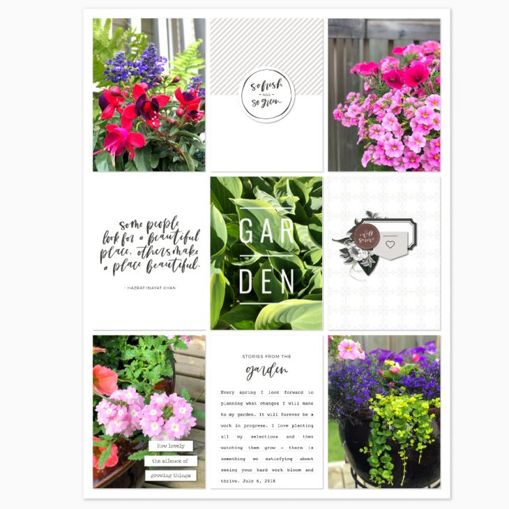 Garden pocket scrapbook layout - Sahin Designs
