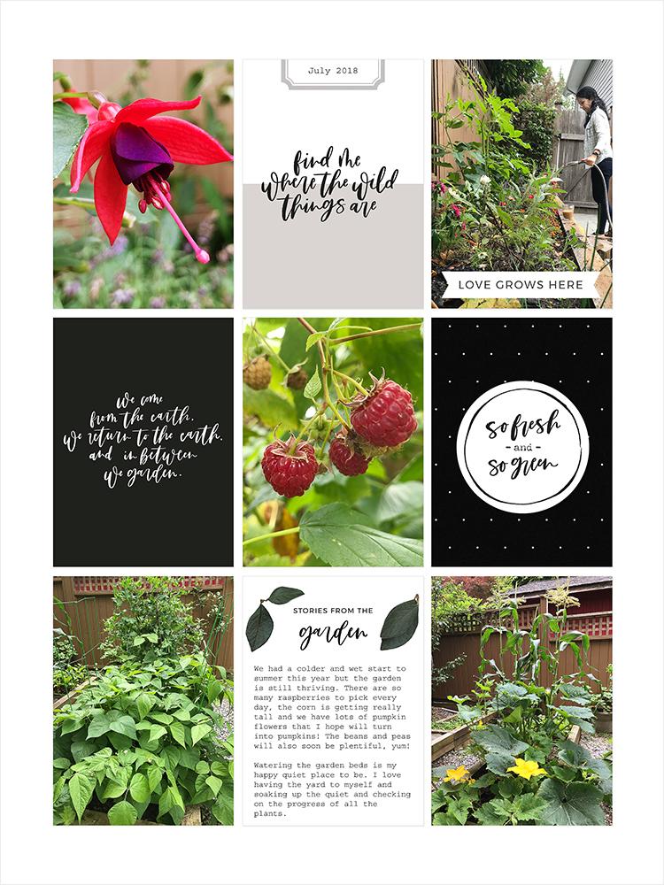Garden pocket scrapbook layout - Sahin Designs