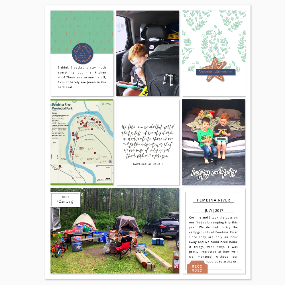 Camp pocket scrapbook layout - Sahin Designs