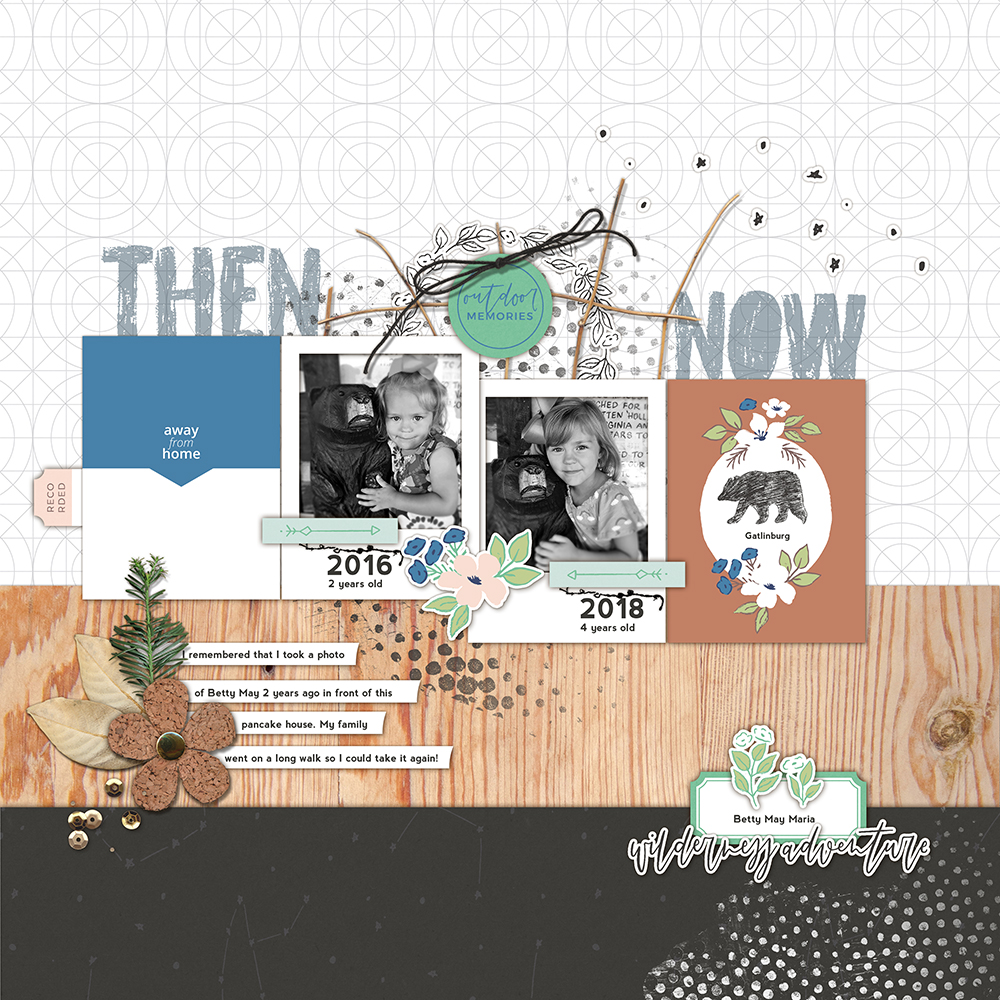 Then and now digital scrapbook layout - Sahin Designs