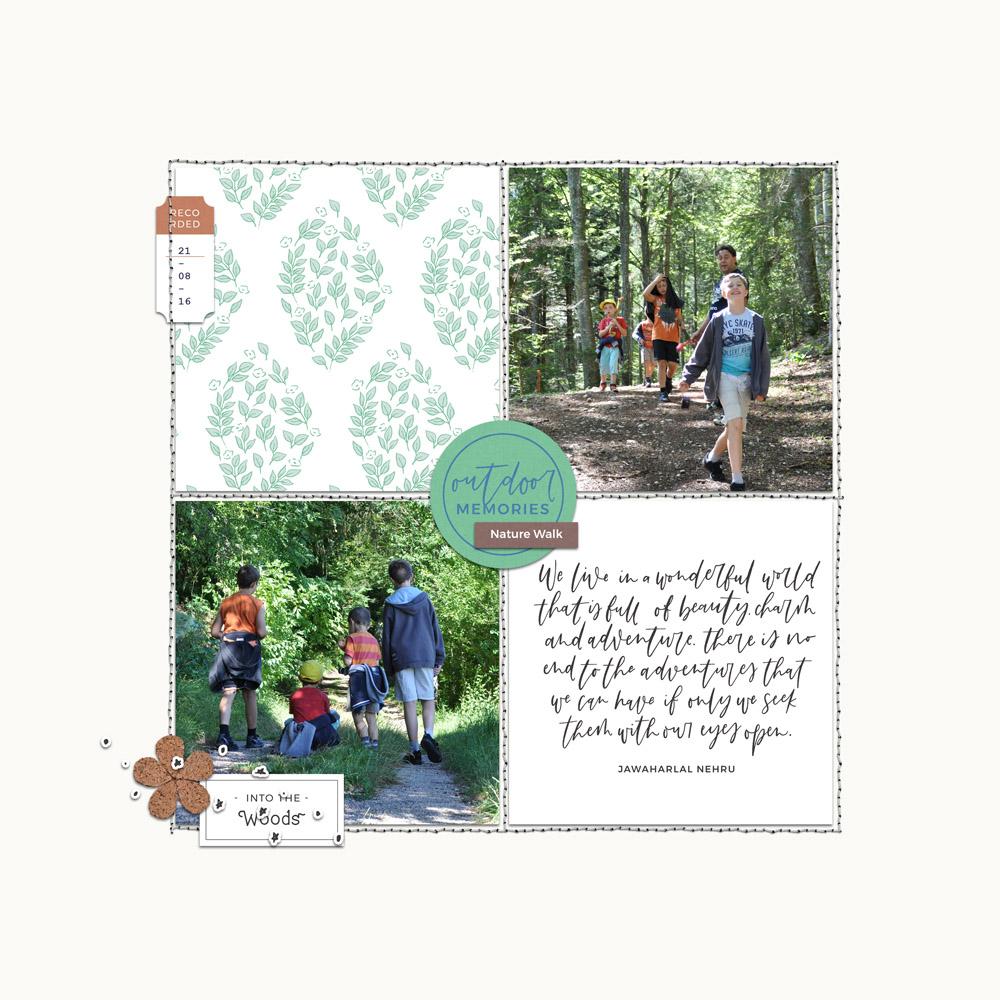 Camping digital scrapbook layout - Sahin Designs