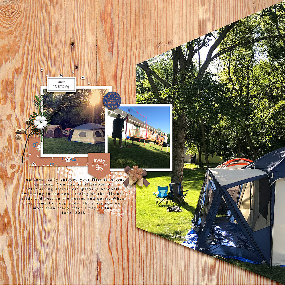Camping digital scrapbook layout - Sahin Designs