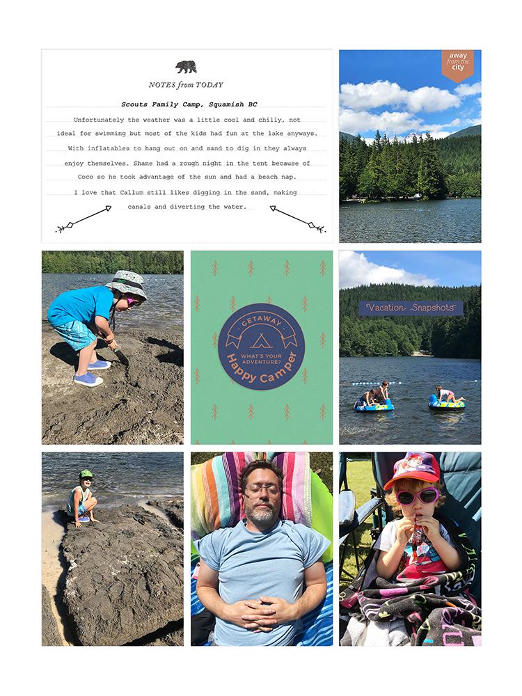 Camp pocket scrapbook layout - Sahin Designs