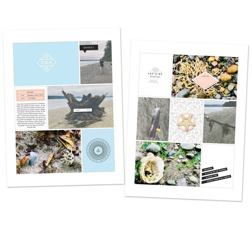 Beach pocket scrapbook layout - Sahin Designs