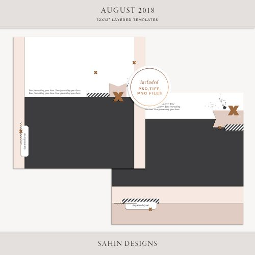 August 2018 Digital Scrapbook Layout Templates/Sketches - Sahin Designs