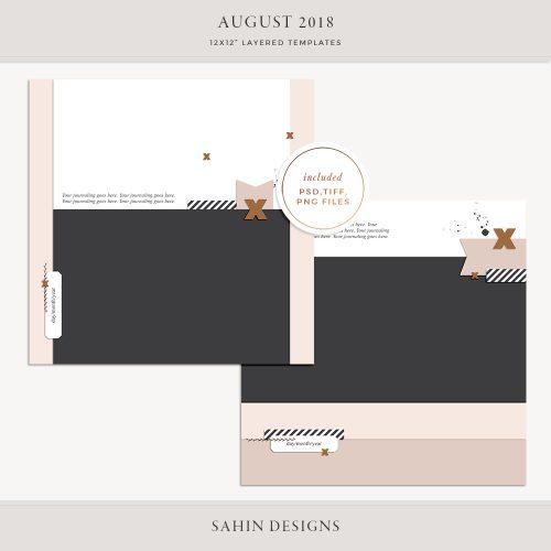 August 2018 Digital Scrapbook Layout Templates/Sketches - Sahin Designs