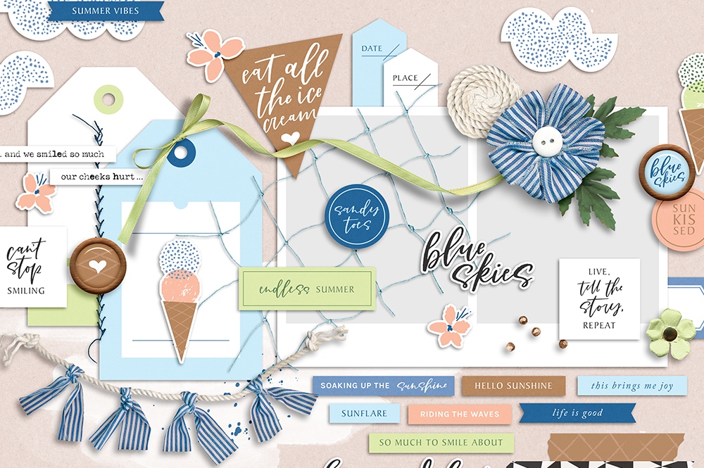 Shop update | Blue Skies collection & August Layout Templates
