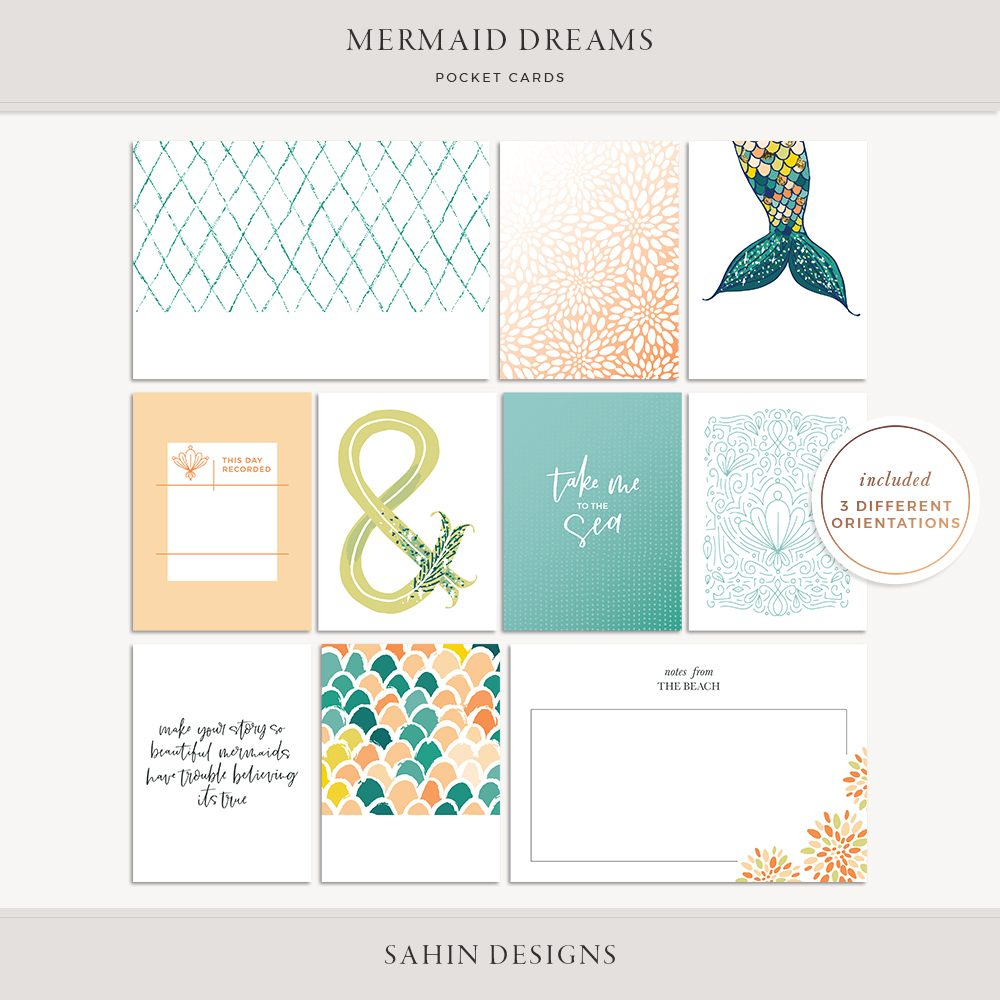 Mermaid Dreams Printable Pocket Cards - Sahin Designs