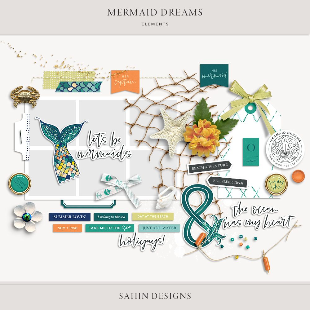 Mermaid Dreams Digital Scrapbook Elements - Sahin Designs