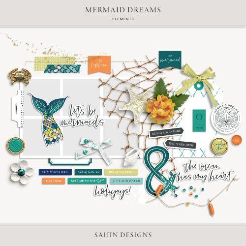 Mermaid Dreams Digital Scrapbook Elements - Sahin Designs