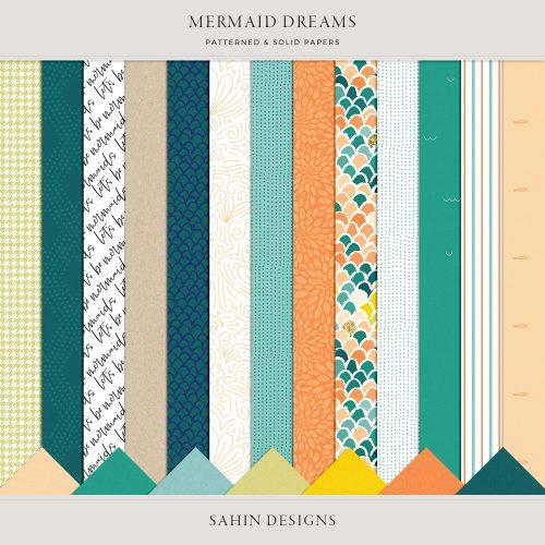 Mermaid Dreams Digital Scrapbook Papers - Sahin Designs