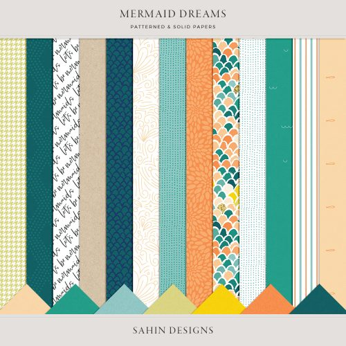 Mermaid Dreams Digital Scrapbook Papers - Sahin Designs