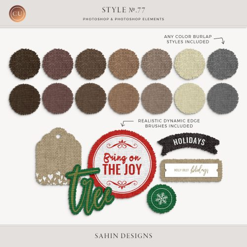 Burlap Photoshop layer styles - Sahin Designs - CU Digital Scrapbook