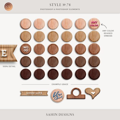 Wood and raised emboss layer styles - Sahin Designs