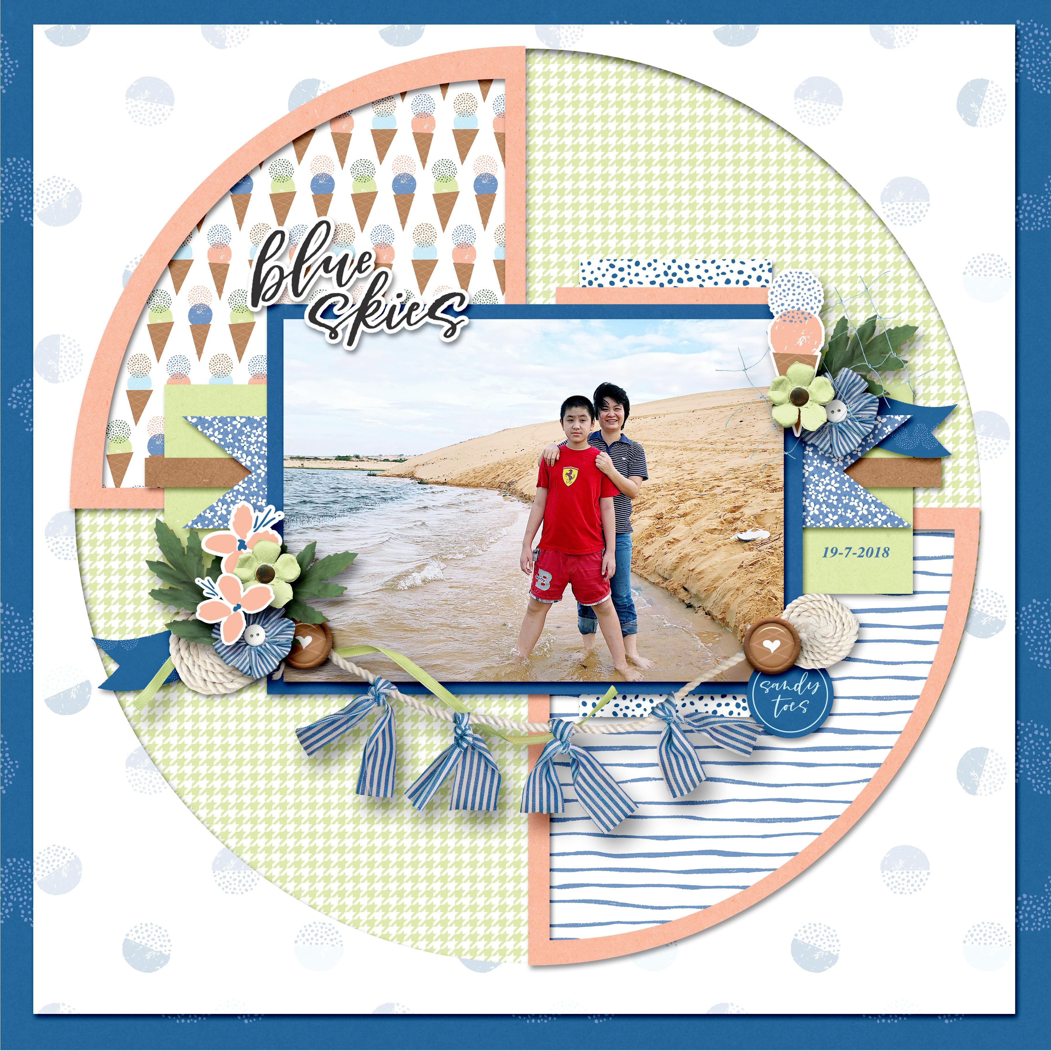 Summer digital scrapbook layout - Sahin Designs