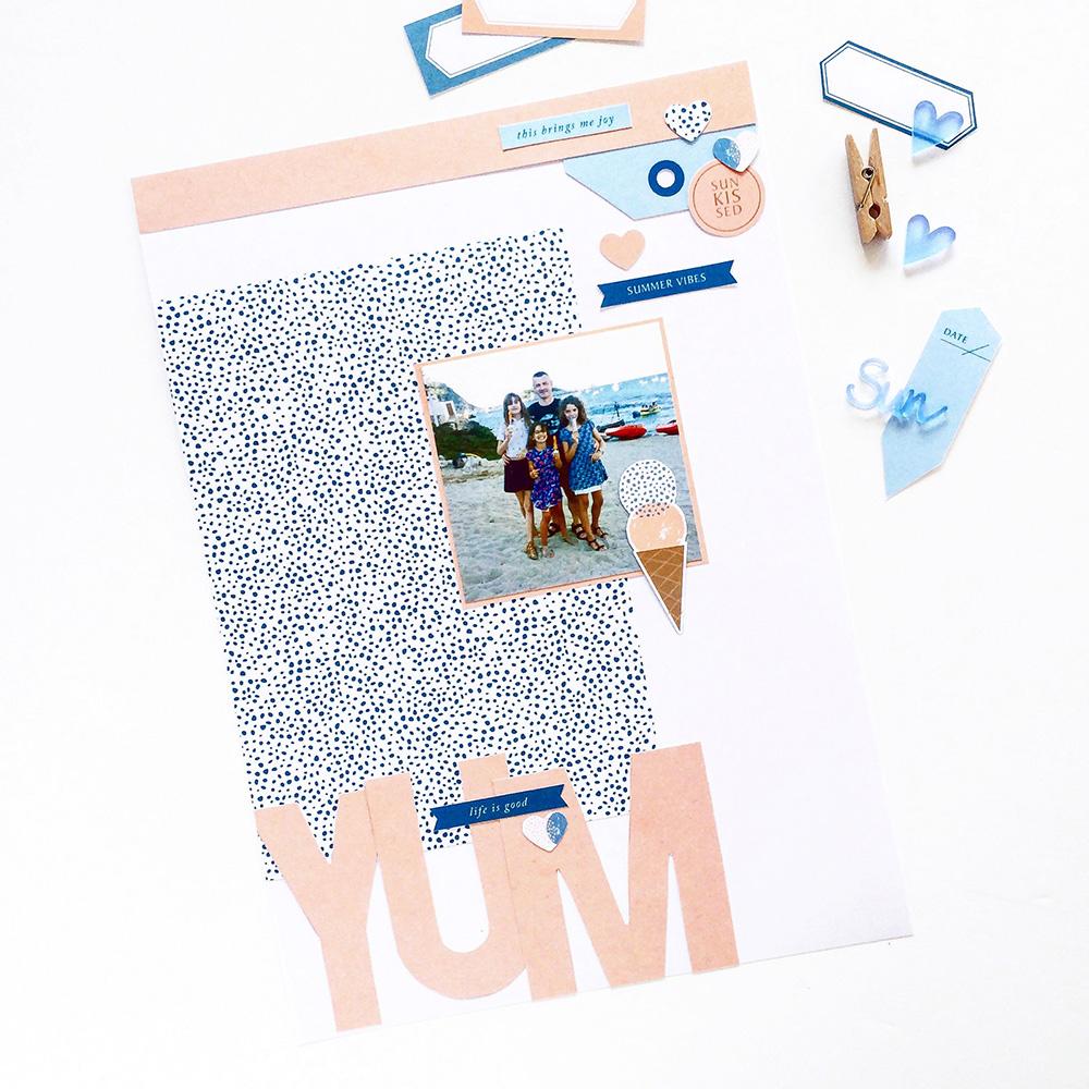 Summer hybrid scrapbook layout - Sahin Designs