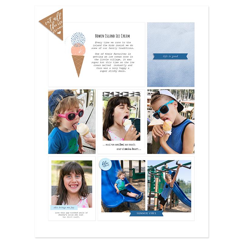 Summer digital pocket scrapbook layout - Sahin Designs
