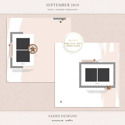 September 2018 Digital Scrapbook Layout Templates/Sketches - Sahin Designs
