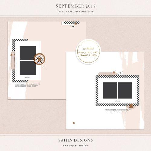 September 2018 Digital Scrapbook Layout Templates/Sketches - Sahin Designs
