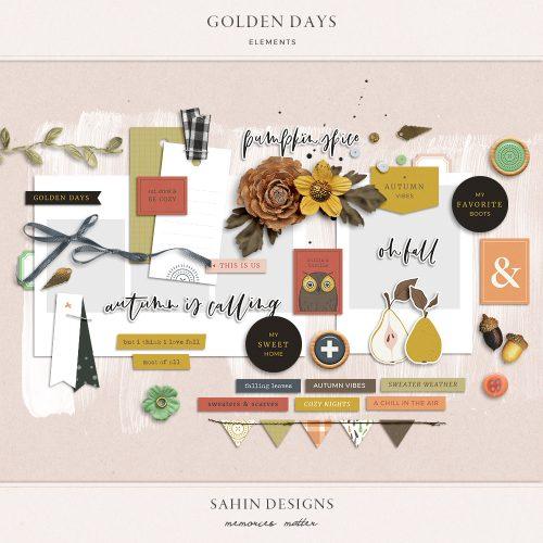 Golden Days Digital Scrapbook Elements - Sahin Designs