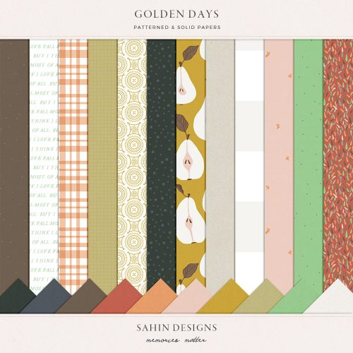 Golden Days Digital Scrapbook Papers - Sahin Designs