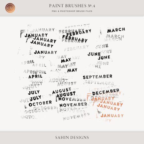 Month Photoshop Stamp Brushes - Sahin Designs - CU Digital Scrapbook