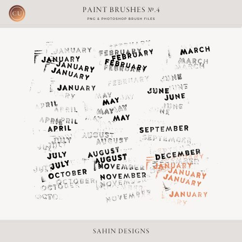 Month Photoshop Stamp Brushes - Sahin Designs - CU Digital Scrapbook