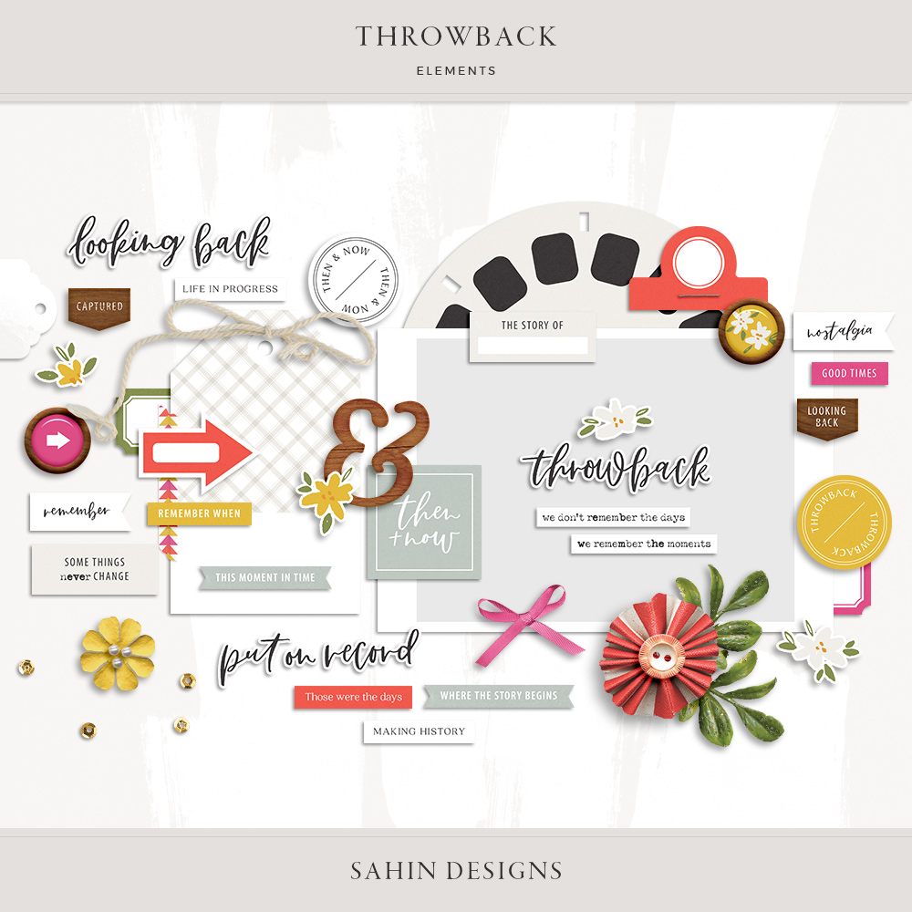 Throwback Digital Scrapbook Elements - Sahin Designs