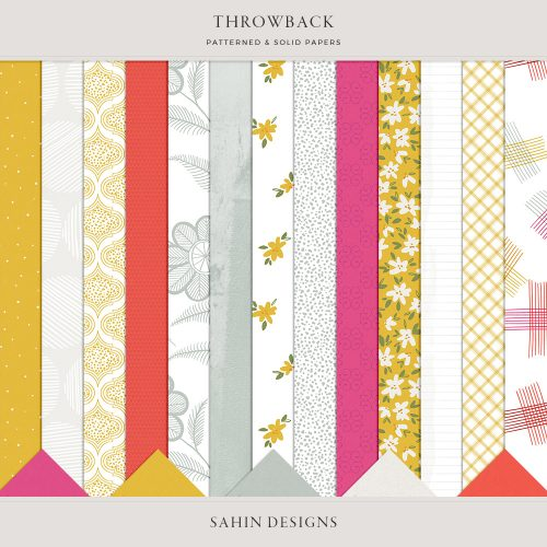 Throwback Digital Scrapbook Papers - Sahin Designs