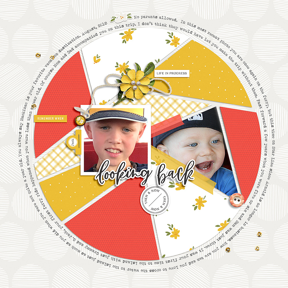 Now and then digital scrapbook layout - Sahin Designs