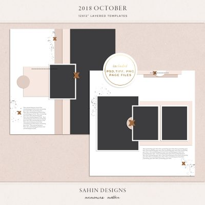 October 2018 Digital Scrapbook Layout Templates/Sketches - Sahin Designs