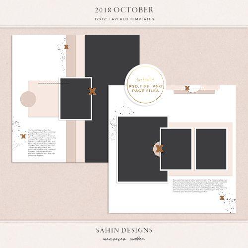 October 2018 Digital Scrapbook Layout Templates/Sketches - Sahin Designs