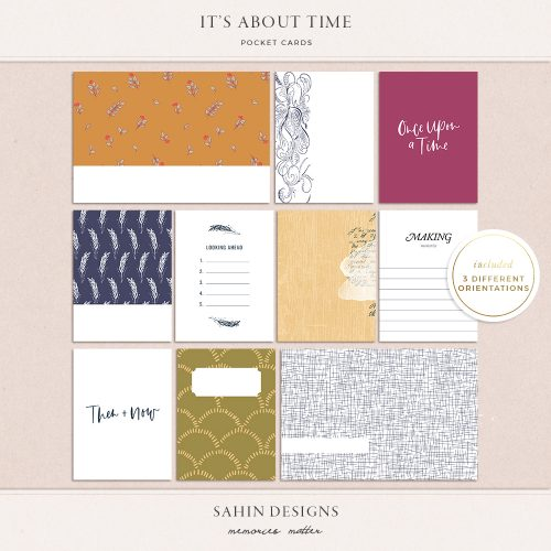It's About Time Digital Printable Pocket Cards - Sahin Designs