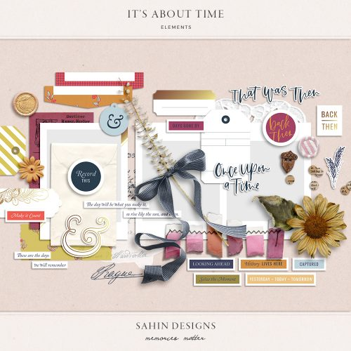 It's About Time Digital Scrapbook Elements - Sahin Designs