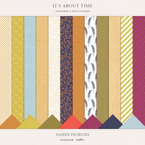 It's About Time Digital Scrapbook Papers - Sahin Designs