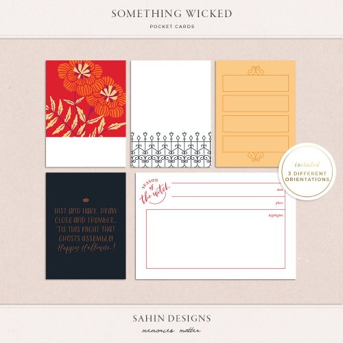 Something Wicked Printable Pocket Cards - Sahin Designs