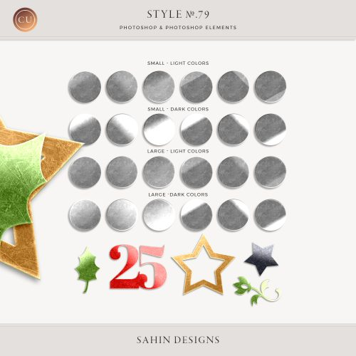 Sequin Photoshop Layer Styles - Sahin Designs - CU Digital Scrapbook