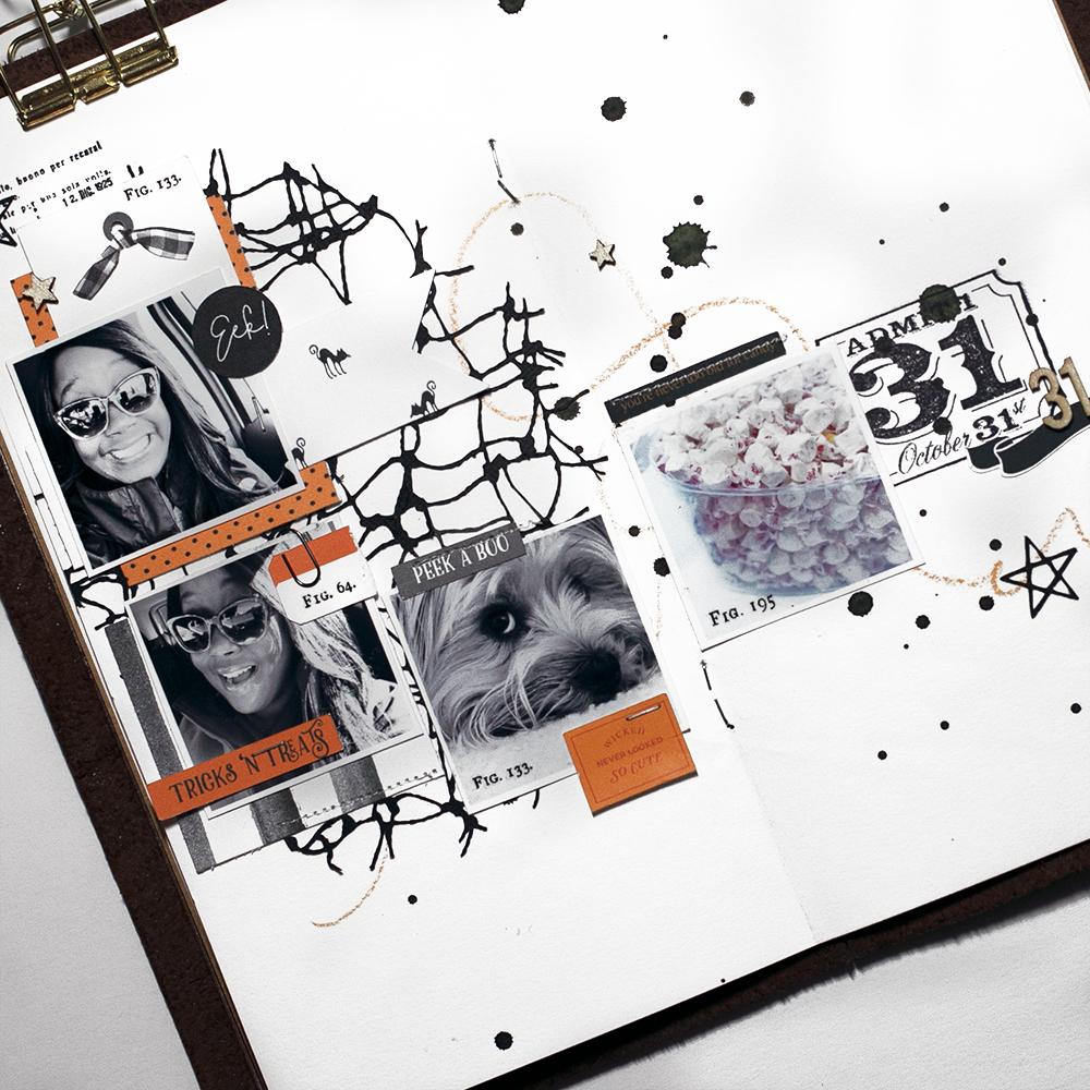Halloween hybrid scrapbook layout - Sahin Designs